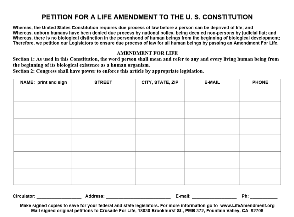 Life Amendment petition